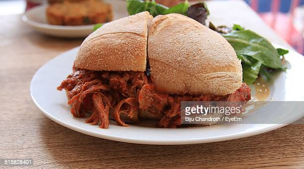 Close-up Of Brisket Sandwich Served On Table
