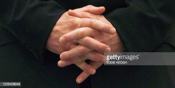 Close-up of Britain's Prime Minister Tony Blair's Hands while he waits to speak to an audience of business leaders in the Gulf emirate of Dubai 20...