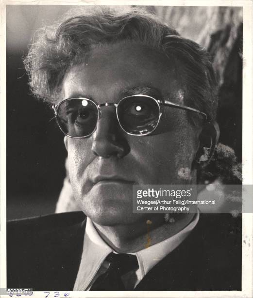 Closeup of British actor and comedian Peter Sellers on the set of the film 'Dr Strangelove Or How I Learned to Stop Worrying and Love the Bomb' at...