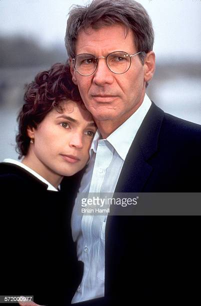 Closeup of British actress Julia Ormond and American actor Harrison Ford in the film 'Sabrina' 1995