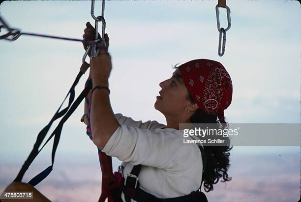 Closeup of British actress Rachel Ward as she rock climbs during preproduction for the tv movie 'Double Jeopardy' Moab Utah 1991
