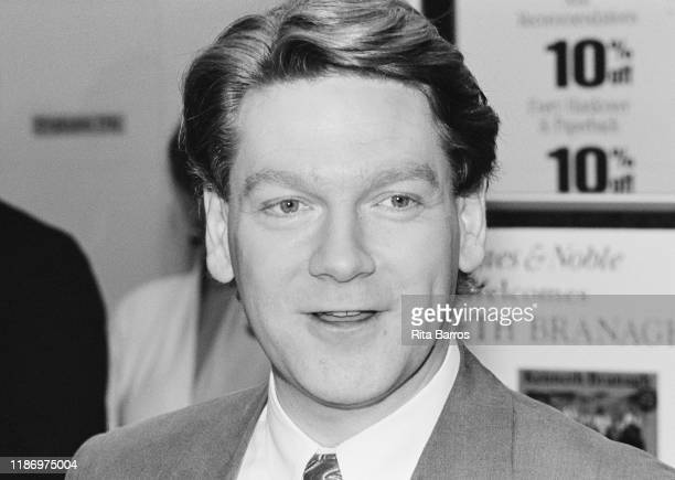 Closeup of British film actor and director Kenneth Branagh during a signing for his book 'Much Ado About Nothing' at a Barnes and Noble bookstore New...
