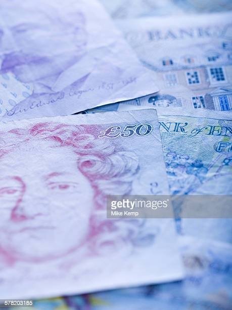 close-up of british pounds - fifty pound note stock pictures, royalty-free photos & images