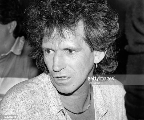 Close-up of British Rock musician Keith Richards, of the Rolling Stones, at the Bottom Line nightclub, New York, New York, January 21, 1988. He was...