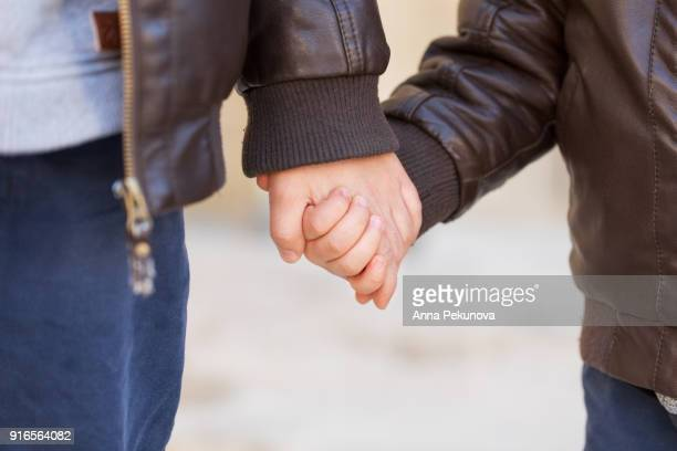 Close-up of brothers holding hands