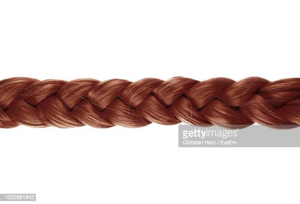close-up of brown braided hair against white background - braided hair stock pictures, royalty-free photos & images