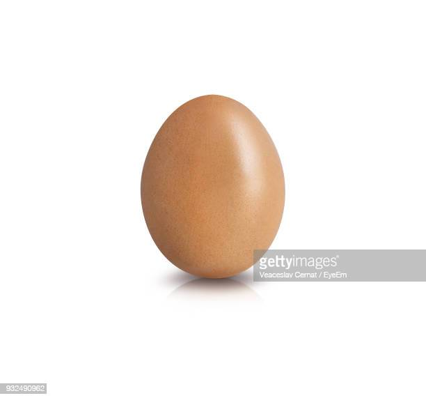 close-up of brown egg against white background - single object stock pictures, royalty-free photos & images