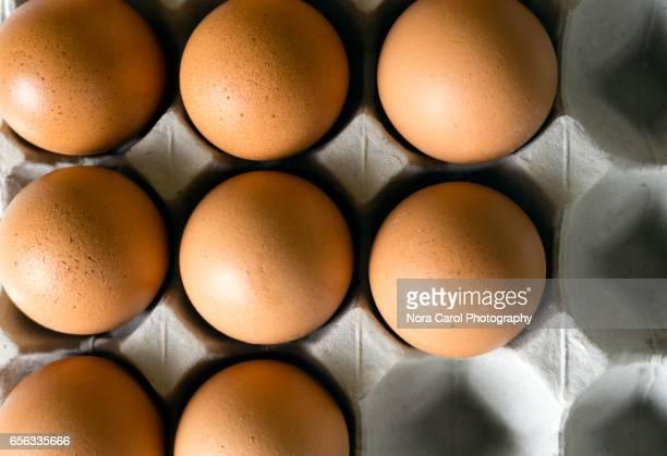 close-up of brown eggs in crate - ei bruin stockfoto's en -beelden