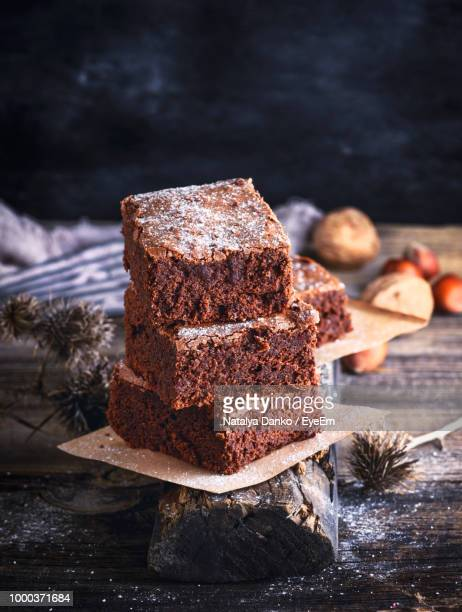 close-up of brownies on table - brownie stock pictures, royalty-free photos & images