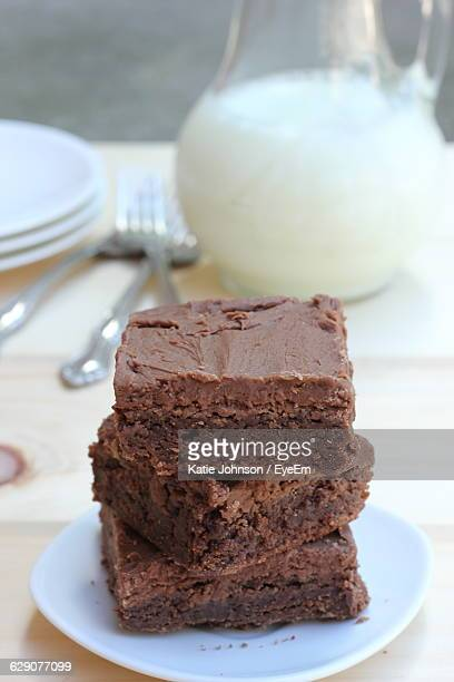 Close-Up Of Brownies On Table