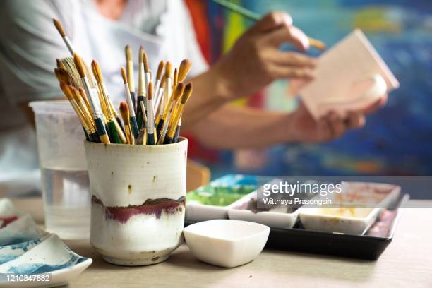 closeup of brush - artist stock pictures, royalty-free photos & images
