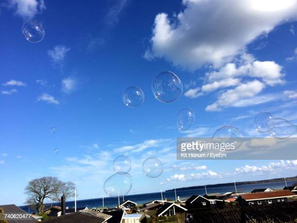 Close-Up Of Bubbles Against Sky