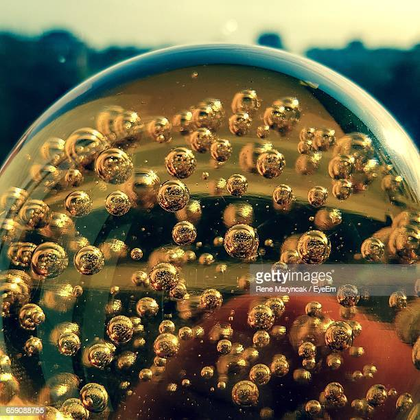 Close-Up Of Bubbles In Glass Sphere