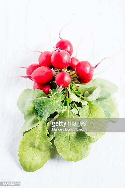Close-Up Of Bunch Of Radishes On White Table