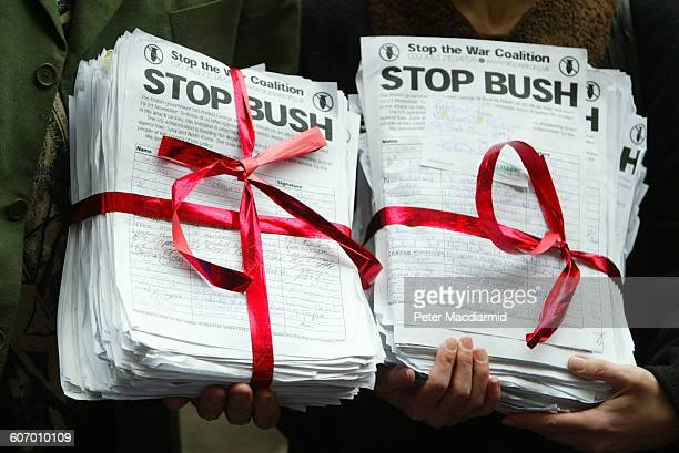 Closeup of bundled petitions signed by people to 'Stop the War Coalition' during a demonstration against visiting US President Bush London England...