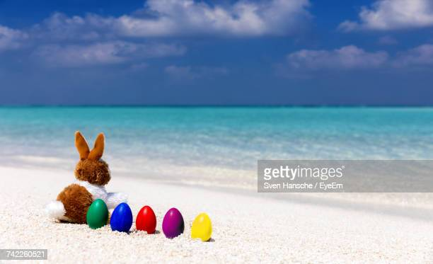 close-up of bunny and easter eggs on shore at beach against cloudy sky - easter beach stock pictures, royalty-free photos & images