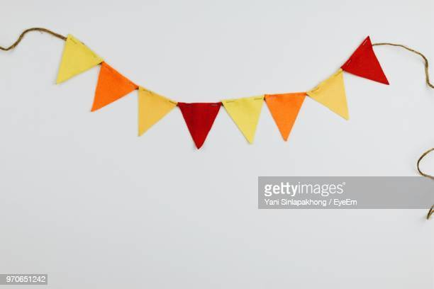 close-up of bunting on table - bunting stock pictures, royalty-free photos & images