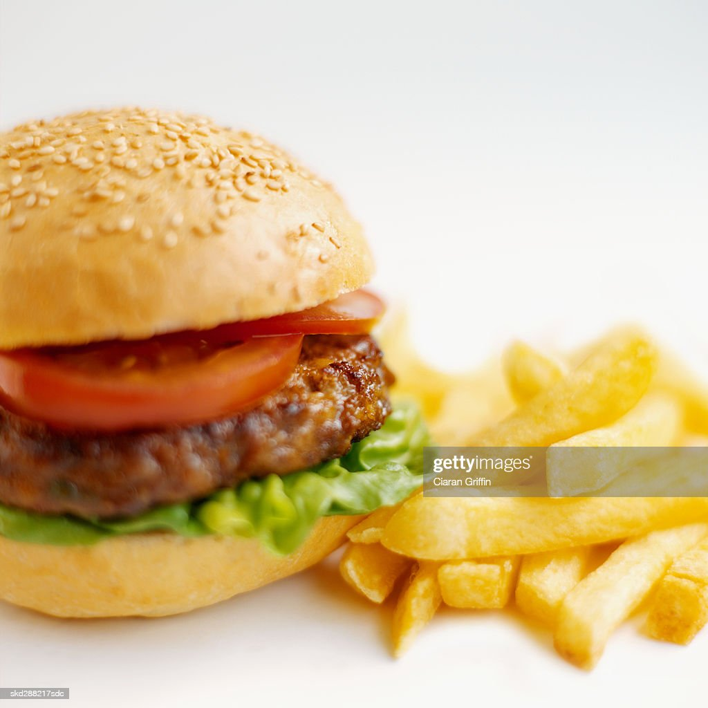 Close-up of burger and french-fries : Stock Photo