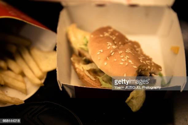 Close-Up Of Burger And Fries