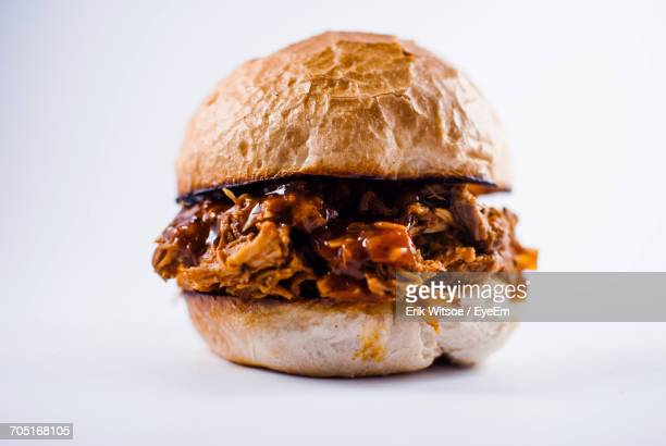Close-Up Of Burger On White Background