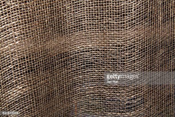 Close-up of burlap fabric - textile - linen