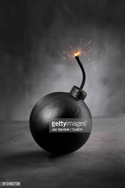 close-up of burning bomb - explosives stock photos and pictures