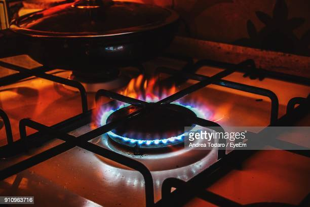 Close-Up Of Burning Gas Stove Burner