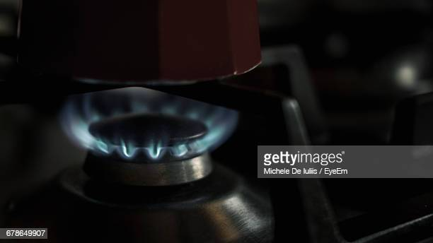 Close-Up Of Burning Gas Stove
