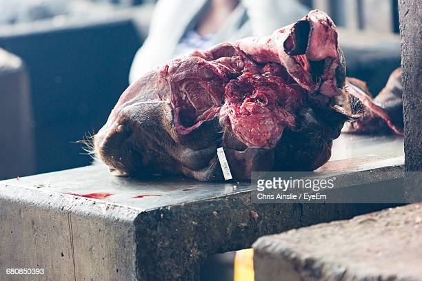 Close-Up Of Butchered Cows Head In Market