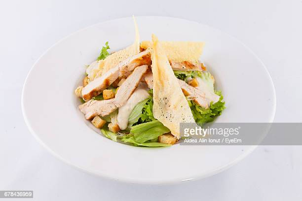 Close-Up Of Caesar Salad In Plate On Table