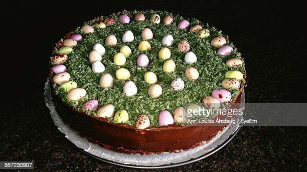 Close-Up Of Cake Decorated With Easter Eggs