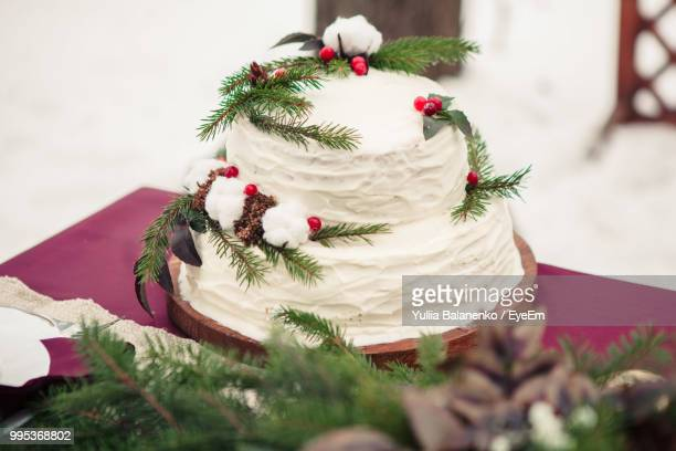 close-up of cake with twigs and fruits on table - christmas cake stock photos and pictures