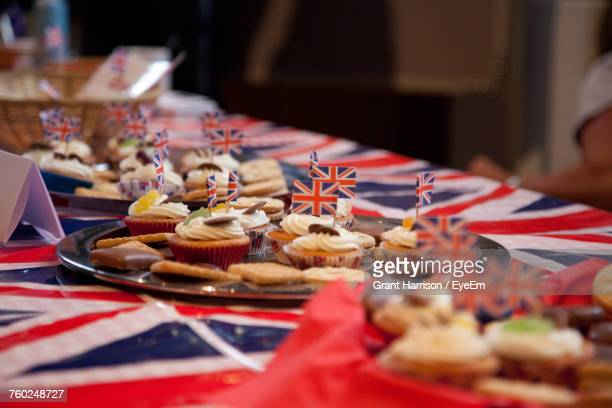 close-up of cakes on table - british flag cake stock pictures, royalty-free photos & images