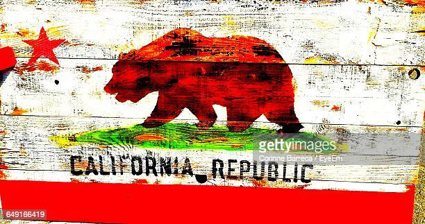 Close-Up Of California Flag Painting On Wood