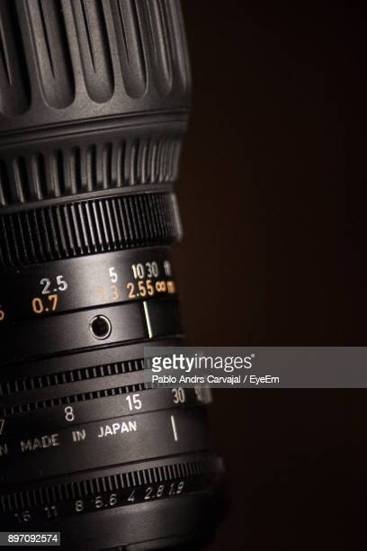 close-up of camera against black background - carvajal ストックフォトと画像