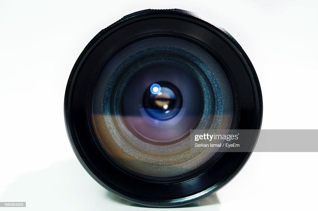 Close-Up Of Camera Lens Against White Background : Stock Photo
