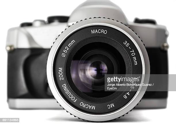 Close-Up Of Camera On White Background