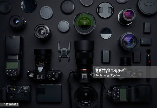 close-up of cameras with equipment on black background - eyeem collection stock pictures, royalty-free photos & images