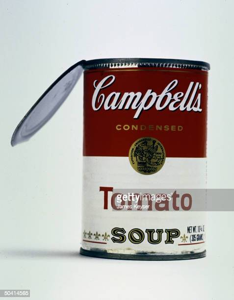 Closeup of Campbell's Tomato Soup can with open lid