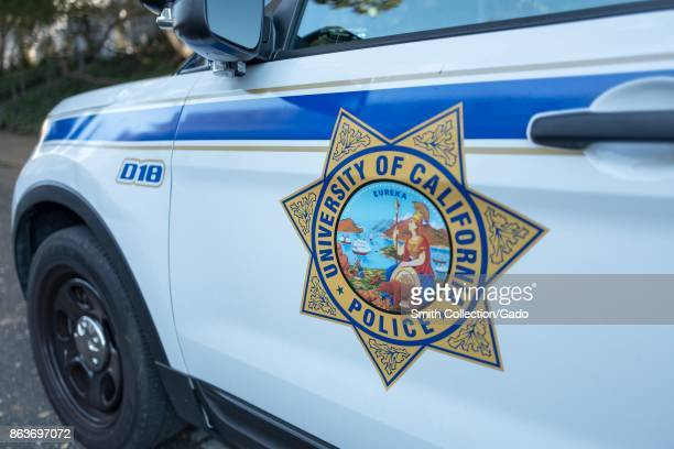 Closeup of campus police vehicle with logo at UC Berkeley a University of California school in Berkeley California October 6 2017 UC Berkeley police...