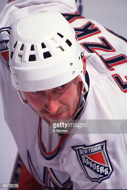 Close-up of Canadian professional hockey player Wayne Gretzky, forward of the New York Rangers, on the ice, April 14, 1999.