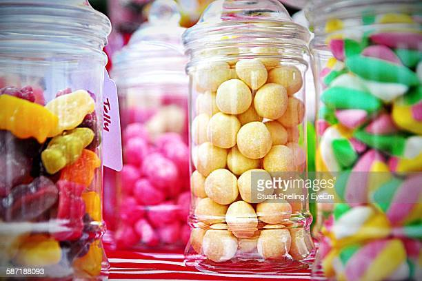 close-up of candies in jar at store - sweet food stock pictures, royalty-free photos & images