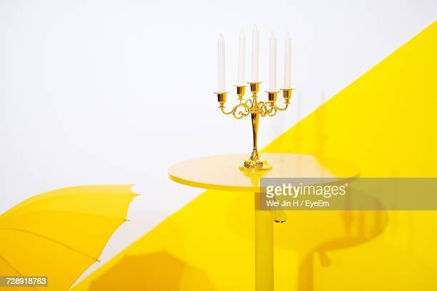Close-Up Of Candlestick Holder On Table