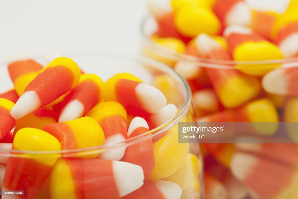 Close-up of candy corns, studio shot : Stock Photo