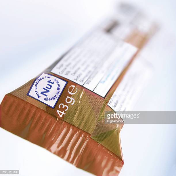 Close-up of Candy With Warning Sign for Nut Allergy