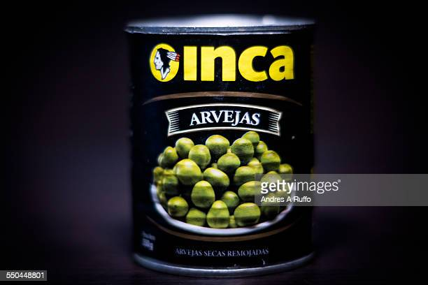Closeup of canned peas inca isolated