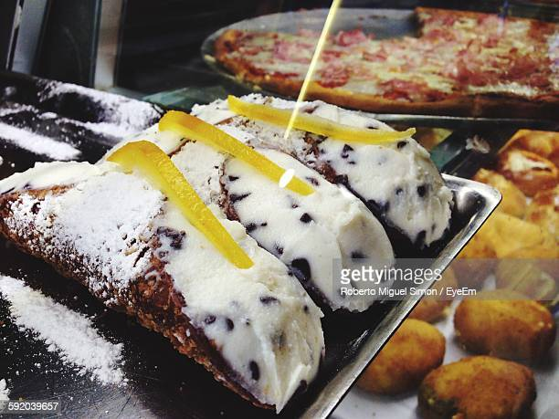Close-Up Of Cannoli In Tray