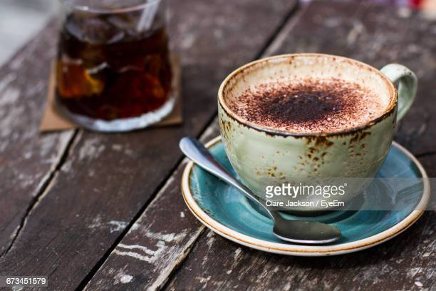 Close-Up Of Cappuccino Cup On Table