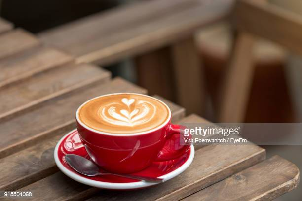 close-up of cappuccino on table - saucer stock pictures, royalty-free photos & images