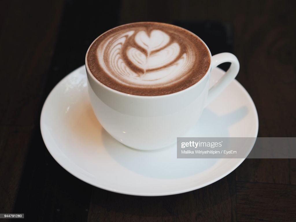 Close-Up Of Cappuccino On Table : Stock Photo